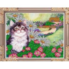 Набор для вышивания бисером Радостный котенок