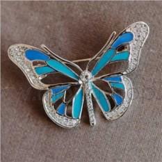 Брошь «Летняя бабочка» с голубой эмалью