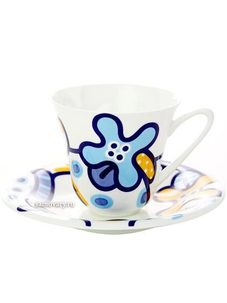 Чайная чашка с блюдцем, форма Сад, рисунок Эмилия синяя