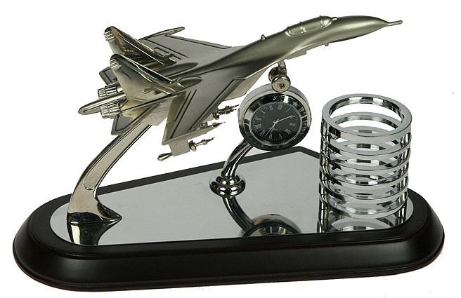 Настольный набор Самолет с часами