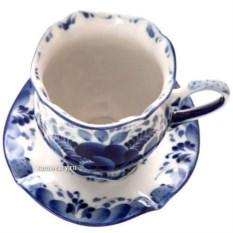 Кофейная пара с художественной гжель Малый тюльпан