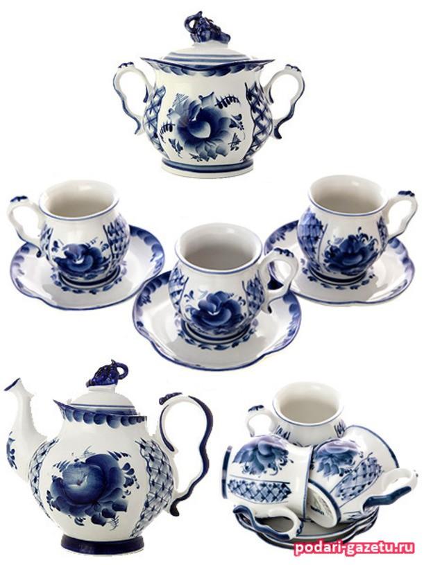 Чайный сервиз Гжель на 6 персон