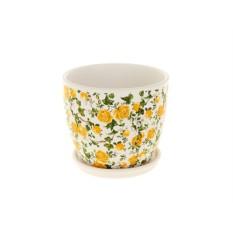 Горшок для цветов Желтые розочки