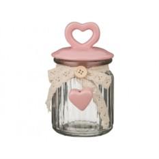 Розовая банка с керамической крышкой Сердечко