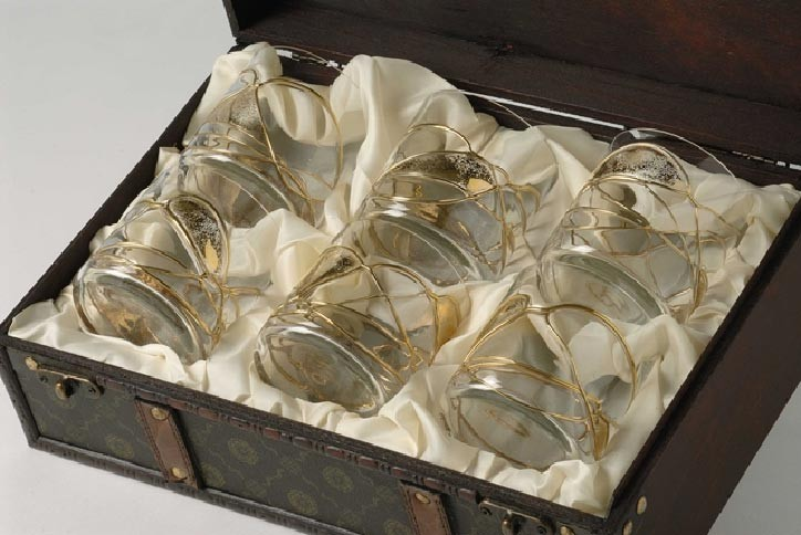 Набор стаканов для виски Aida Line, 6 штук, позолота