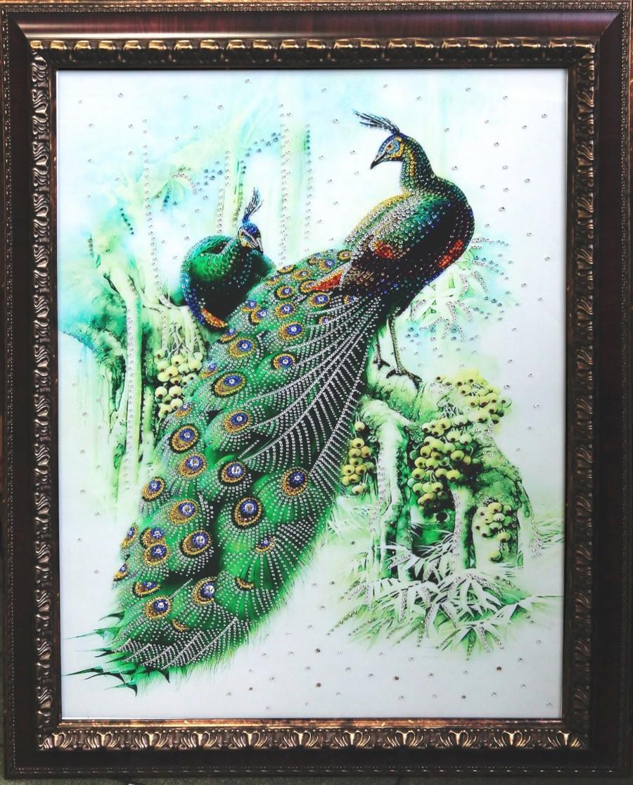Картина с кристаллами Swarowski Павлины