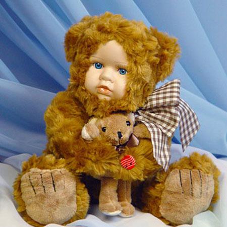 Меховая кукла «Медвежонок с мишуткой»
