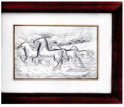 Посеребренное панно в рамке Табун коней