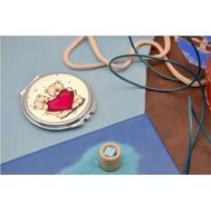 Карманное зеркальце с принтом Мишки с сердцем
