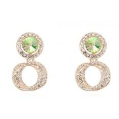Серьги «Кольца Сатурна» с камнями Сваровски цвета шампань