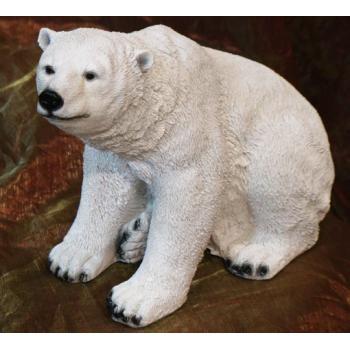Садовая фигурка Медведь белый, сидячий