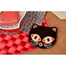 Карманное зеркальце в кожаной оправе Черная кошка