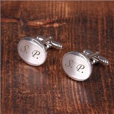 Овальные матовые запонки, серебро