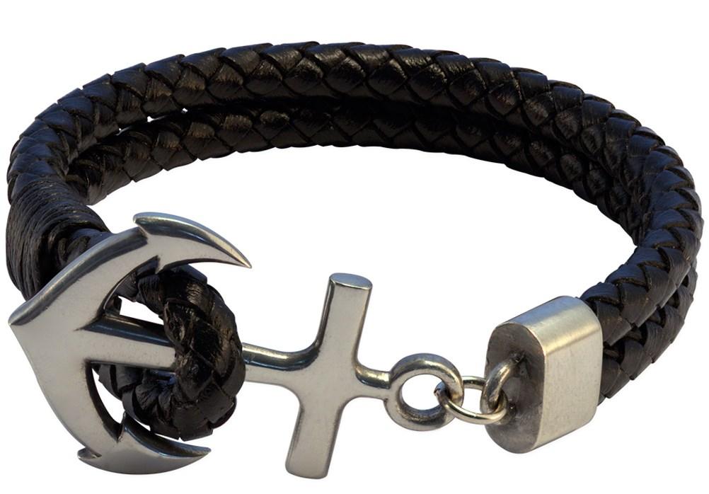 Кожаный браслет с якорем Bico