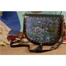 Женская сумка-седло с принтом Elole Design Сиреневое поле