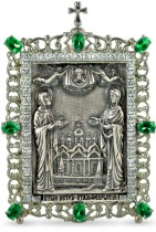 Настольная серебряная икона с образом Святых Петра и Февронии
