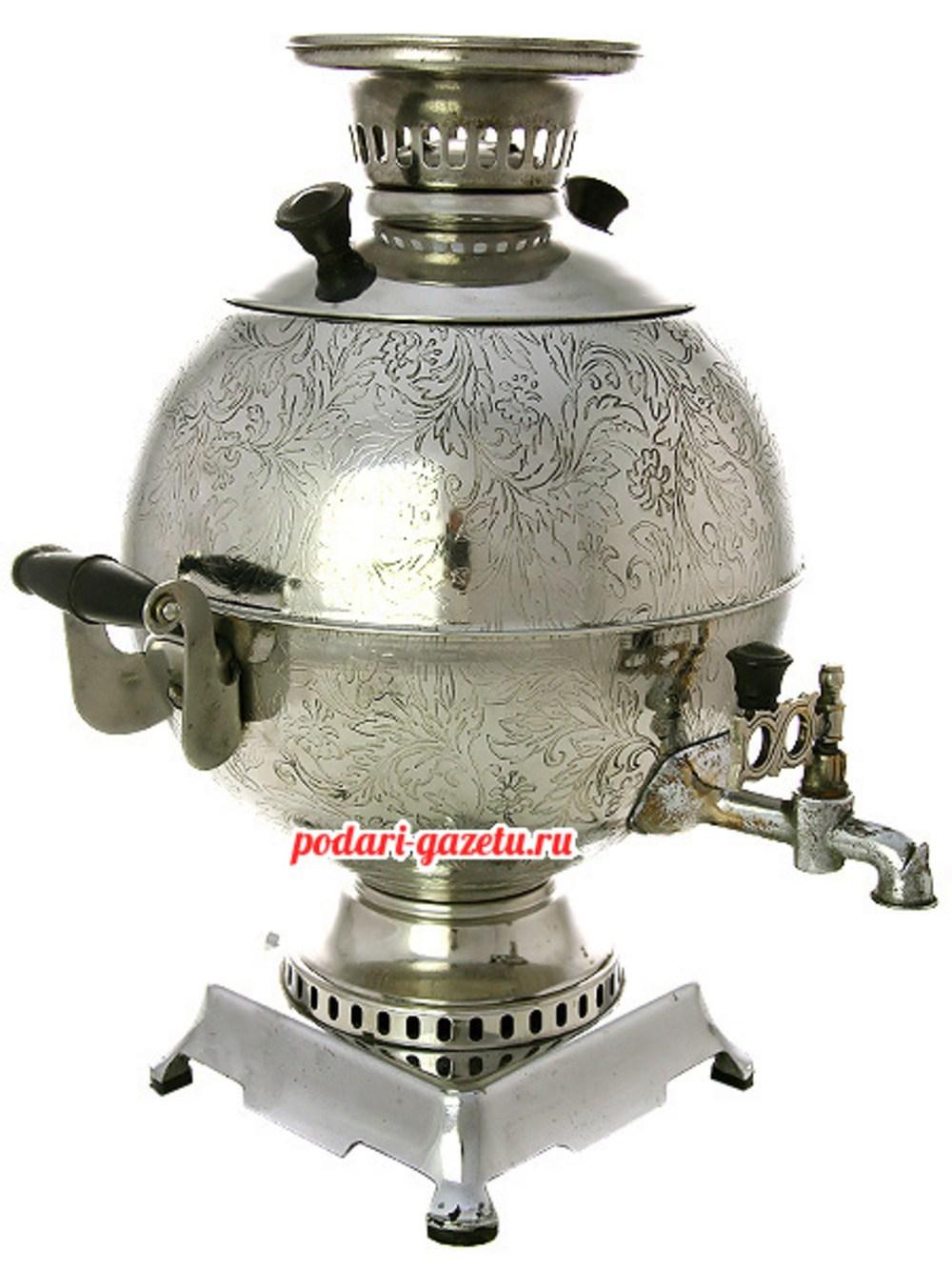 Электрический самовар на 5 литров никелированный шар