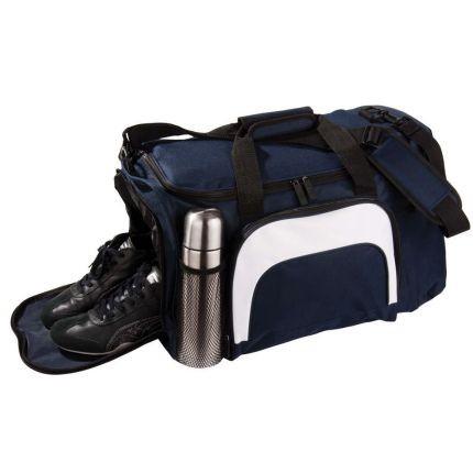 Синяя сумка с отделением для обуви и бутылки