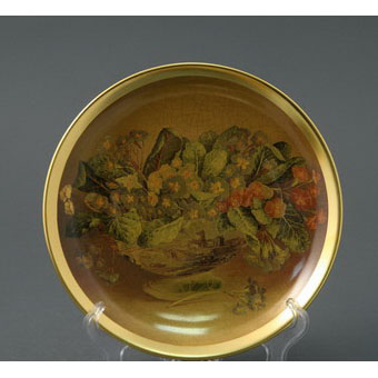 Тарелка декоративная золотая цветы d=21см, без.уп.