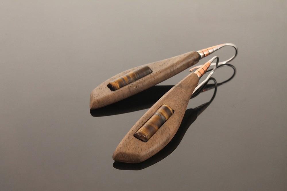Серьги деревянные «Стрекоза»