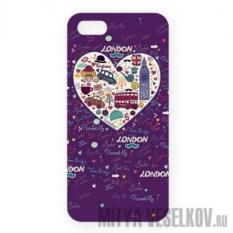 Чехол для IPhone 5 London. Фиолетовое сердце