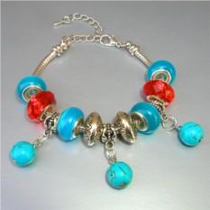 Красный браслет из бирюзы в стиле Пандора