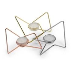 Набор из 3-х подсвечников Tri-Angular Loop, хром-медь-золото