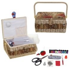 Плетеная шкатулка для рукоделия с подносом и набором