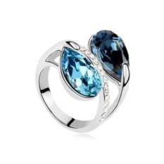 Кольцо с синими кристаллами Сваровски «Дуэт»