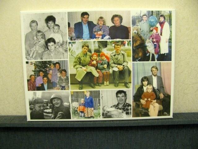 Семейный фотоколлаж на холсте в подарок