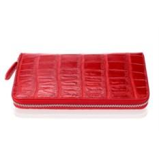 Красный кошелек на молнии из кожи крокодила