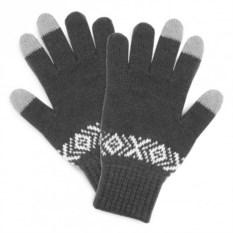Серые сенсорные перчатки с узором