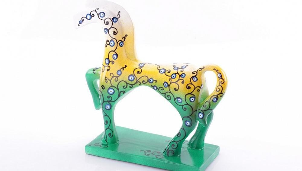 Статуэтка Конь расписной, желто-зеленая