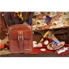 Коричневая кожаная сумка-планшет коллекции Sergio Belotti