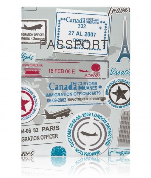 Обложка на паспорт Stamps Grey