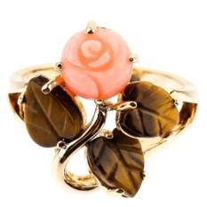 Кольцо с кораллом и тигровым глазом Очаровательная роза