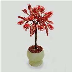 Миниатюрное дерево любви из коралла в вазочке из оникса