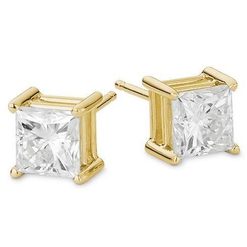 Золотые серьги с квадратными муассанитами emma