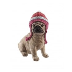 Декоративная фигурка Собака мопс в шапке