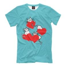 Мужская футболка Коты и сердечки