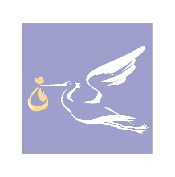 Мини-открытка С рождением малыша!, аист