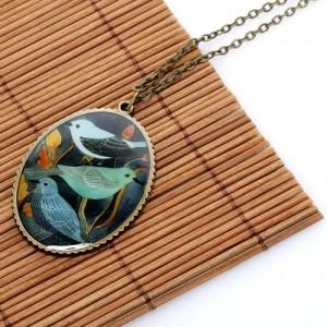 Медальон Синие птицы