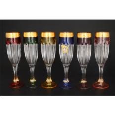 Набор из 6 фужеров для шампанского Сафари разноцветные