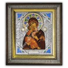 Икона с эмалями Пресвятая Богородица Владимирская