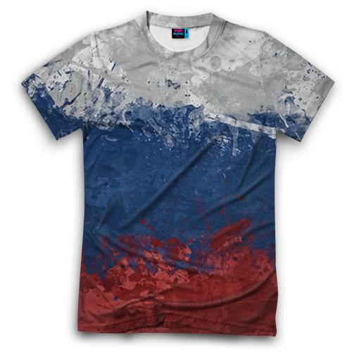 Мужская футболка 3D с полной запечаткой Флаг России