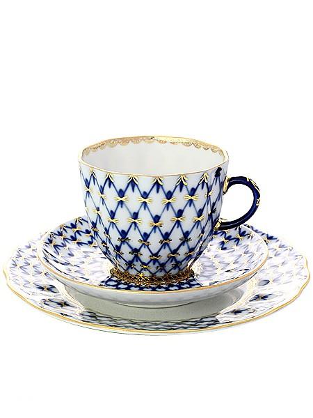 Кофейный комплект из чашки и двух блюдец Кобальтовая сетка