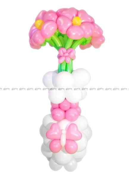 Розовые ромашки в белой вазе Букет из шаров