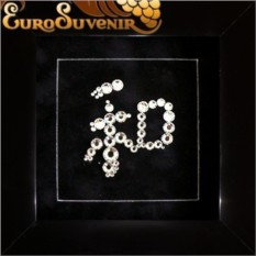 Картина Swarovski Иероглиф. Гармония и мир, 48 кристаллов, 12х12 см