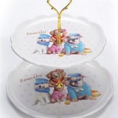 2-х ярусная конфетница Семья собачек