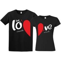 Парные футболки Let love create miracle
